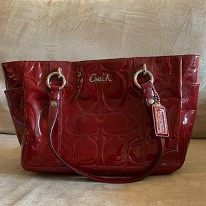 Coach signature patten leather bag